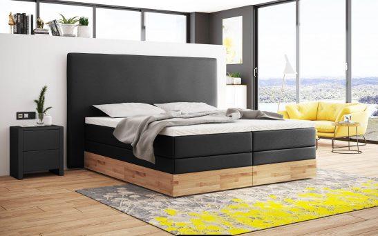 Boxspringbett mit Bettkasten aus Holz